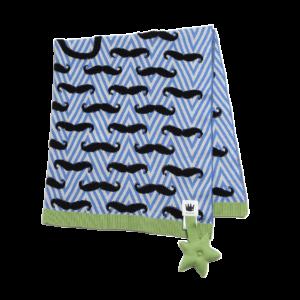 Mustachio Blue Cotton Blanket