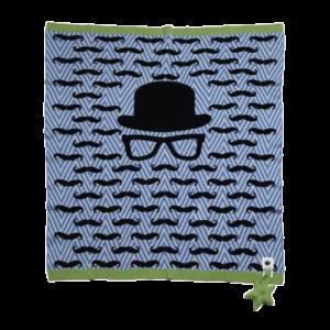 Mustachio Blue Blanket